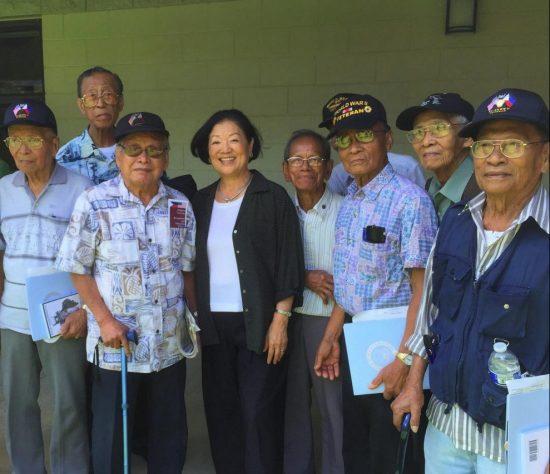 Sen. Mazie Hirono met with  Filipino veterans in Hawaii in August 2015.