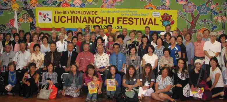 Okinawa Prefecture Gov. Atsushi Onaga and his delegation visited OAA in May to promote the Worldwide Uchinanchu Festival. (J.K. Yamamoto/Rafu Shimpo)