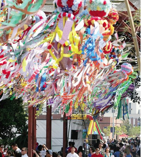 Colorful kazari will be on view throughout the Tanabata Festival.