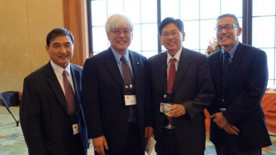 From left: Judge Dale Ikeda, past JACL National Presidents Larry Oda and Floyd Shimomura, and Ted Namba in Washington, D.C. in 2013. (Photo by Michele Namba)