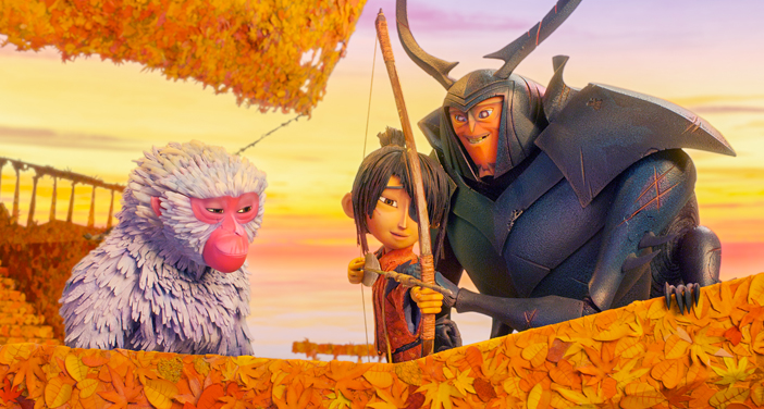 """Monkey (left, voiced by Charlize Theron) watches as Beetle (Matthew McConaughey) teaches Kubo (Art Parkinson) how to fish with a bow and arrow in animation studio Laika's animated action-adventure """"Kubo and the Two Strings."""" The stop-motion family feature has drawn praise for its art, but jeers for its mostly white cast for a story set in Japan, about Japanese characters. (Laika Studios/Focus Features)"""