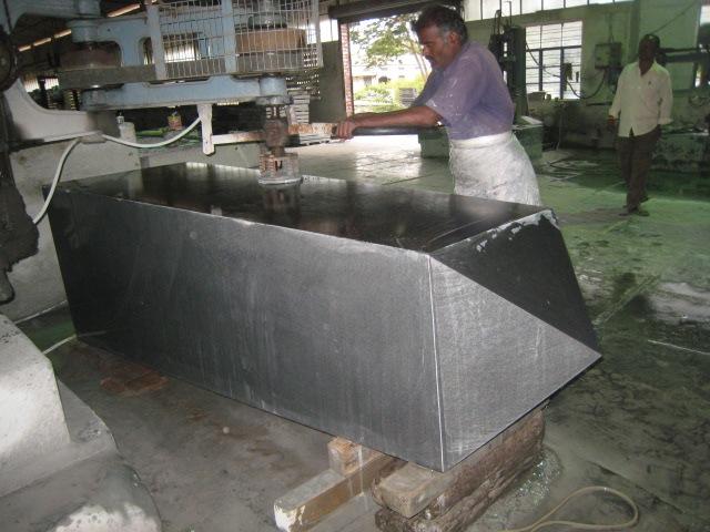 The VJAMM obelisk being polished in India prior to shipment.