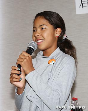 高松市の西植田小学校に体験入学したことを発表するホーン村尾舞弥さん