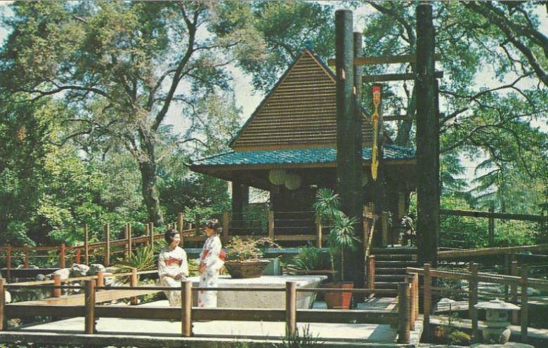 Postcard featuring Descanso Gardens' Japanese Garden and ladies wearing kimonos, circa 1966. (Courtesy Descanso Gardens)