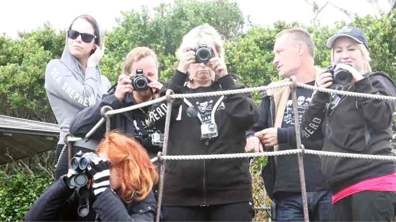 Anti-whaling proesters from Sea Shepherd take photos of Yagi.