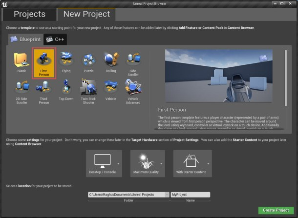 Creatingunrealproject