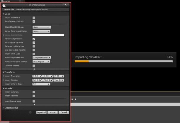 Unreal Engine Import Settings