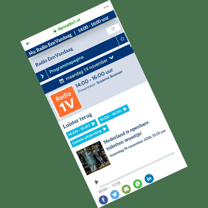 2018-11-19 Nederland is openbare toiletten woestijn, NPO radio 1 – Eén Vandaag