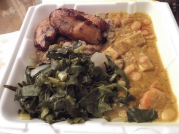 Coconut Curried Tofu, Collard Greens, Ital Stew, and Fried Plantains