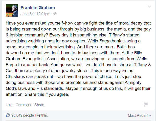 Franklin Graham asks us Where Would Jesus Bank?