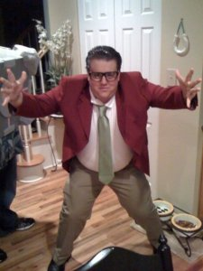 Will dressed as Matt Foley, motivational speaker