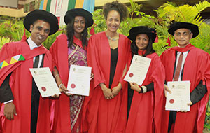 From left: Dr Ravesh Singh; Dr Dshanta Naicker; Professor Maryln Addo, collaborative partner from Harvard Medical School; Dr Eshia Moodley-Govender and Dr Vinod Patel.