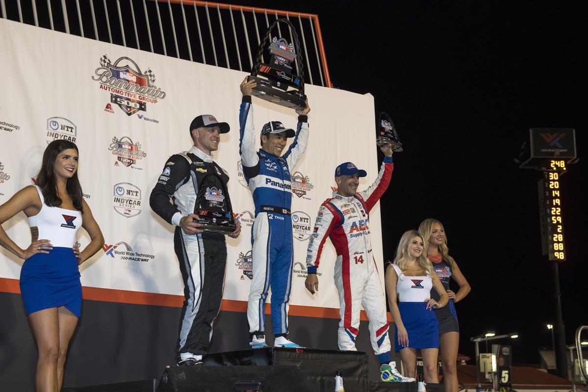 Sato, Carpenter y Kanaan en el podio de Gateway | Foto: Galería Rahal Letterman Laningan Racing