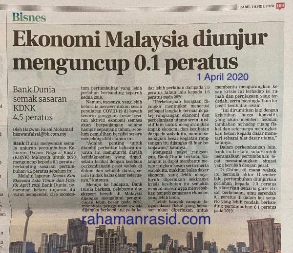 Bank Dunia mengunjurkan KDNK Malaysia pada 2020 ialah menguncup 0.1 peratus kesan wabak covid-19