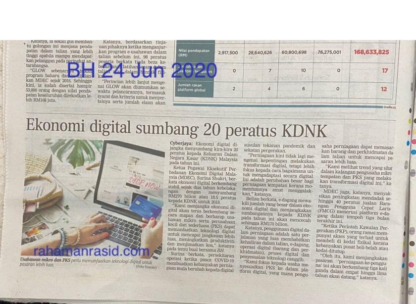 Ekonomi digital khasnya e-dagang akan menjadi penyumbang signifikan kepada KDNK