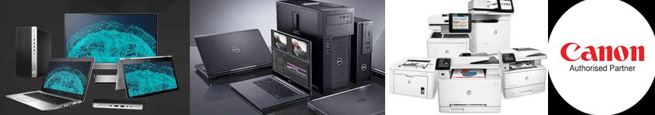 laptops, printers, desktops