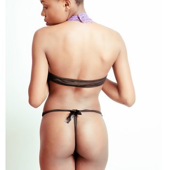 Crotchless Black Lingerie With Purple Lining