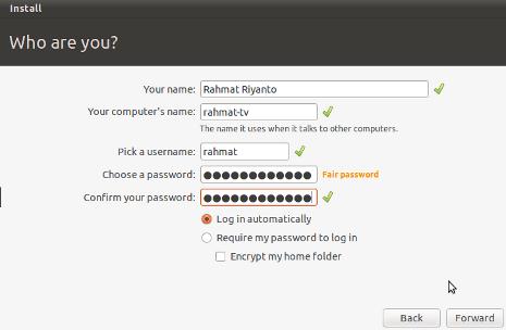 Cara Install Ubuntu 10.10 - Setting Username, Password dan Nama Komputer
