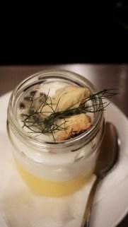 Yoghurt Foam, Lemon Thyme Crumble, Passion Fruit Coulis