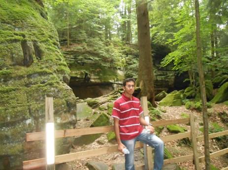 Outside a cave
