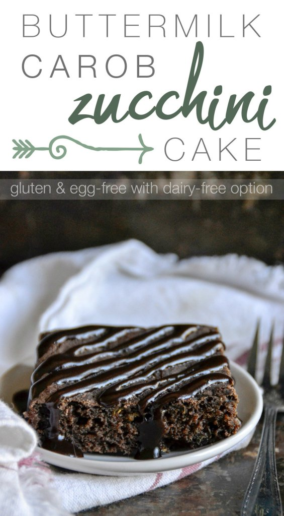 This gluten and egg-free Buttermilk Carob Zucchini Cake is a must-try. | RaiasRecipes.com