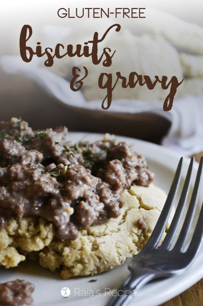 These easy, gluten-free Biscuits & Gravy are the perfect comfort food. | RaiasRecipes.com