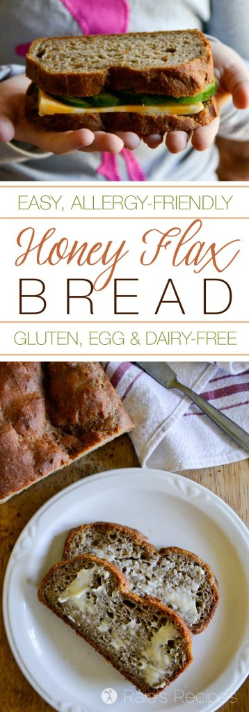 "This gluten, egg, and dairy-free Honey Flax Bread has a great texture and a light flavor. My hubby even likes it more than ""regular"" bread! 