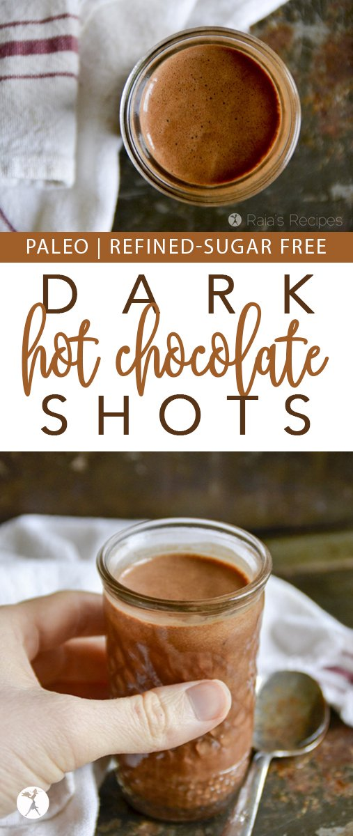 Need something quick and delicious to satisfy your chocolate cravings? These easy paleo Quick Fix Dark Hot Chocolate Shots are for you! #paleo #glutenfree #dairyfree #chocolate #hotchocolate #darkchocolate