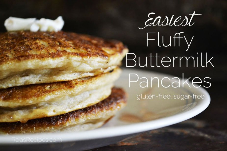 Easiest Fluffy Buttermilk Pancakes | gluten-free, sugar-free | RaiasRecipes.com