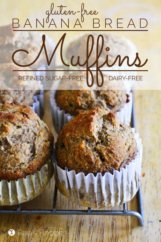 Banana Bread Muffins | gluten-free, dairy-free, refined sugar-free | RaiasRecipes.com