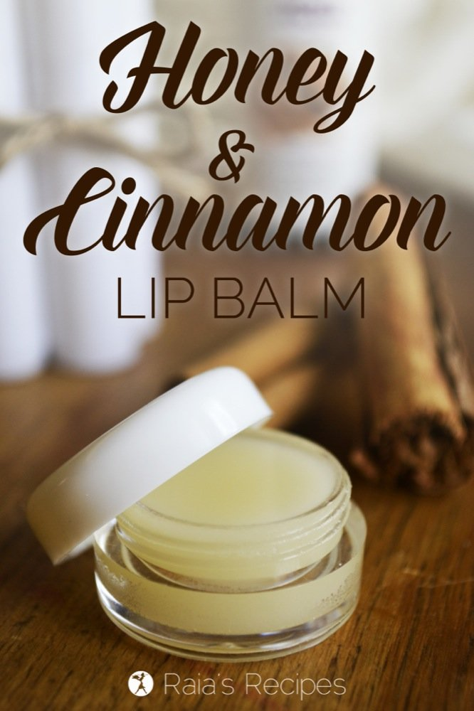 DIY Honey & Cinnamon Lip Balm. With only a few, non-toxic, ingredients, it's an easy, healthy alternative to store-bought lip balms. | RaiasRecipes.com