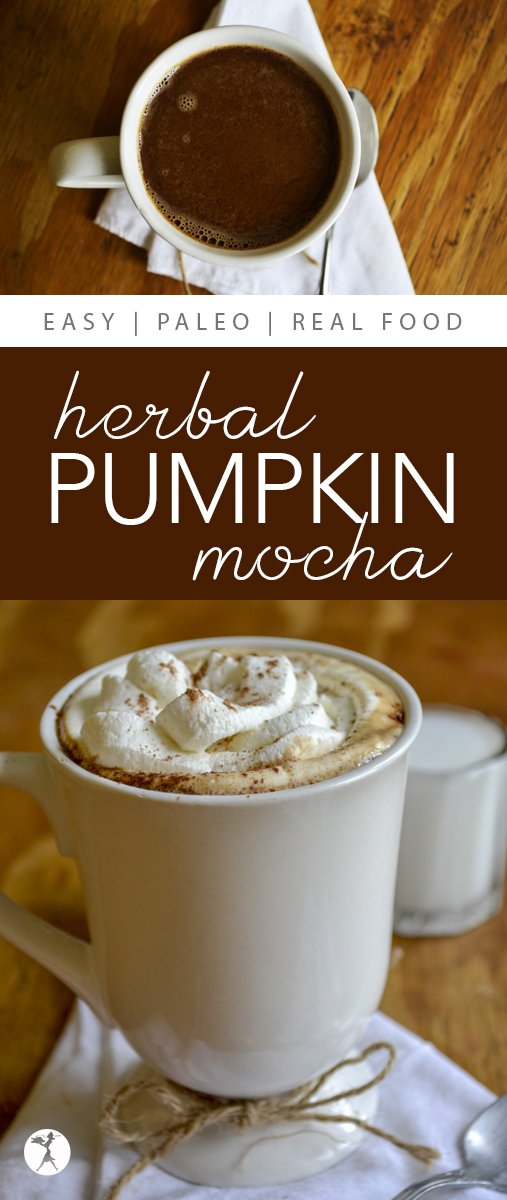 What better way to celebrate fall than with adelicious and easy to make Herbal Pumpkin Mocha? #paleo #glutenfree