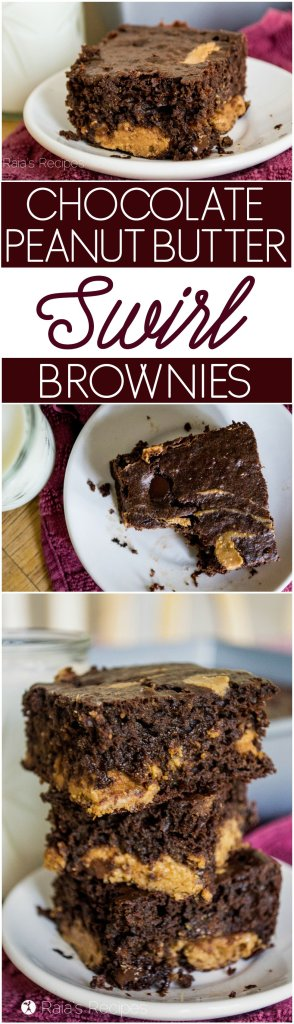 These gluten-free Chocolate Peanut Butter Swirl Brownies are the perfect combo of rich and hearty. | RaiasRecipes.com