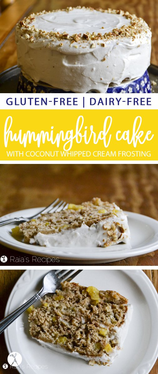 Full of fresh fruits and frosted with coconut whipping cream, this gluten and dairy-free Hummingbird Cake is the perfect summery treat! #glutenfree #dairyfree #pineapple #banana #cake #hummingbirdcake #southernfood #realfood