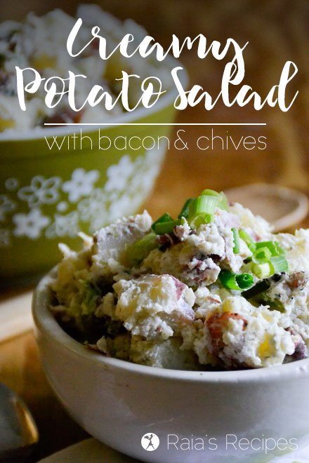 This Creamy Potato Salad with Bacon and Chives is the perfect side dish to take along to your summer picnic or BBQ! RaiasRecipes.com