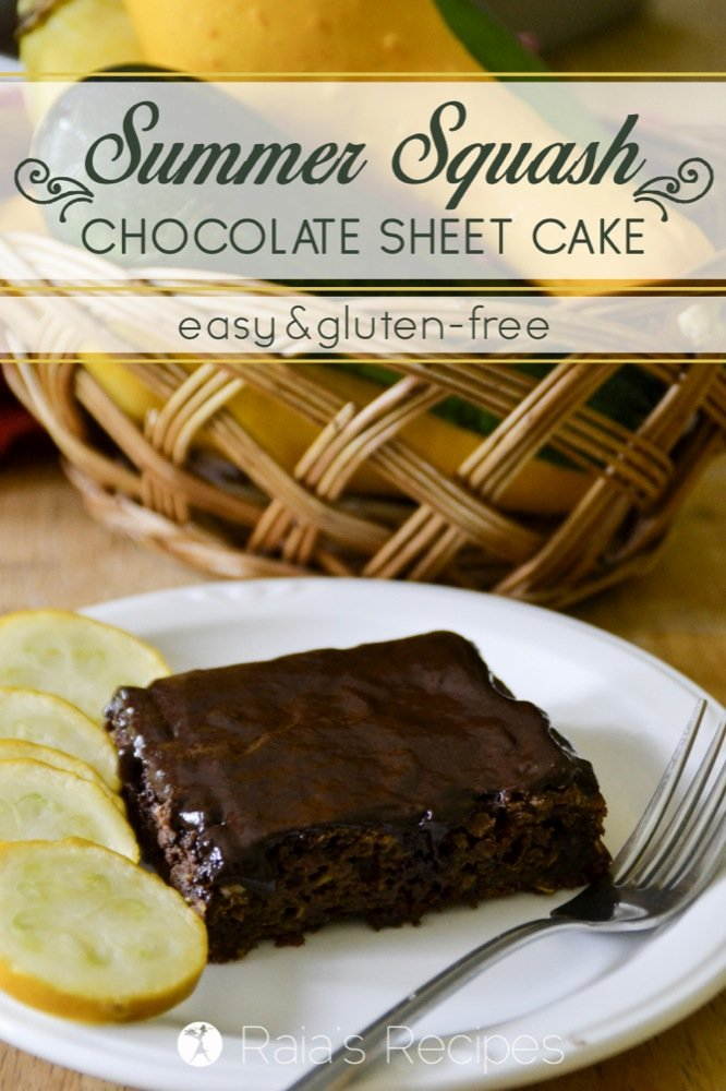 This easy, gluten-free Summer Squash Chocolate Sheet Cake is a great way to use up all that squash your summer garden has been producing! RaiasRecipes.com