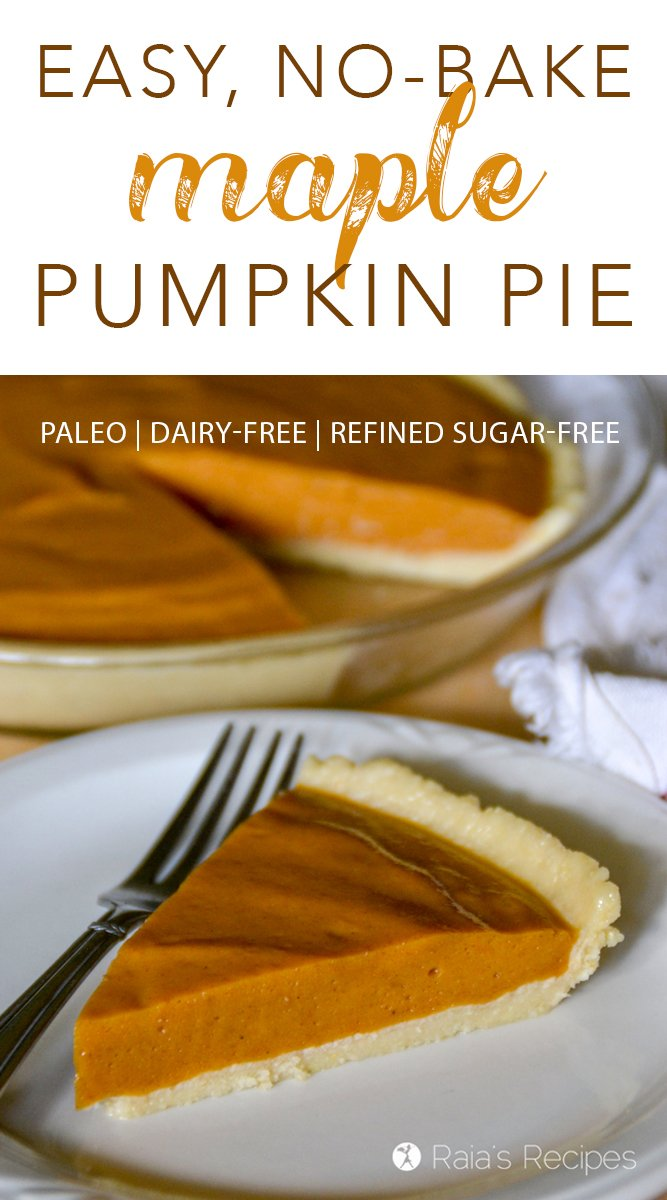 Indulge guilt-free in this refined-sugar free, paleo, No-Bake Maple Pumpkin Pie complete with a grain-free, No-Bake Almond Flour Crust!