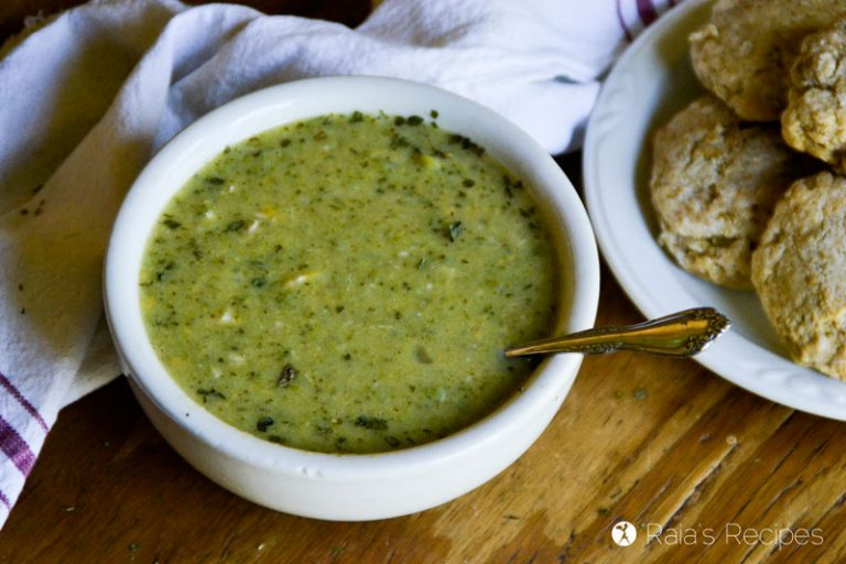 Nourish yourself from the inside out with this real-food, grain-free Cheesy Chicken & Broccoli Soup in the Instant Pot!   RaiasRecipes.com