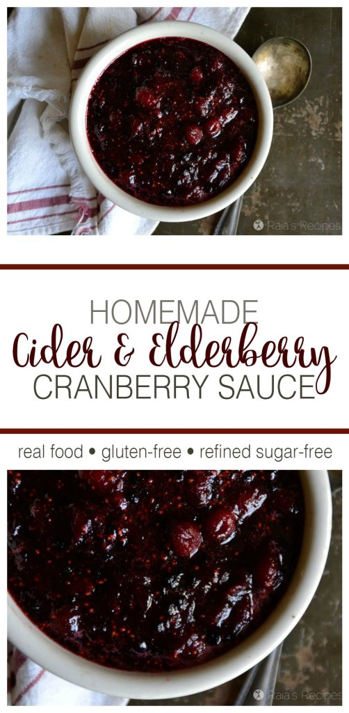 This real food, Homemade Cider & Elderberry Cranberry Sauce has quickly become a favorite holiday treat at my house! | RaiasRecipes.com