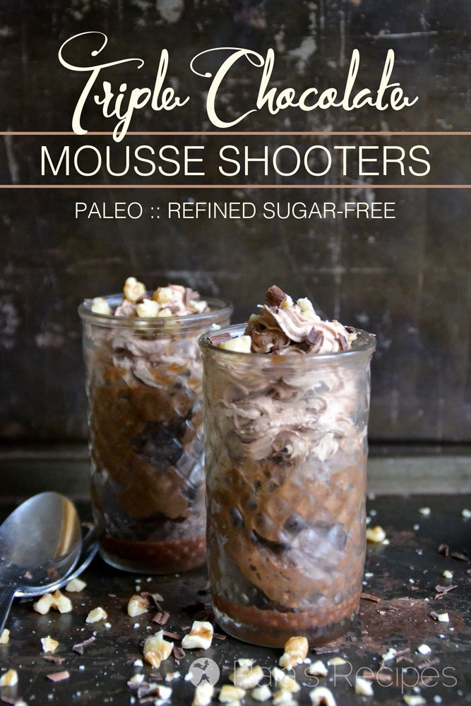 Decadent and delicious, these Triple Chocolate Mousse Shooters are not only easy to whip up, they're full of healthy, real food goodness! RaiasRecipes.com