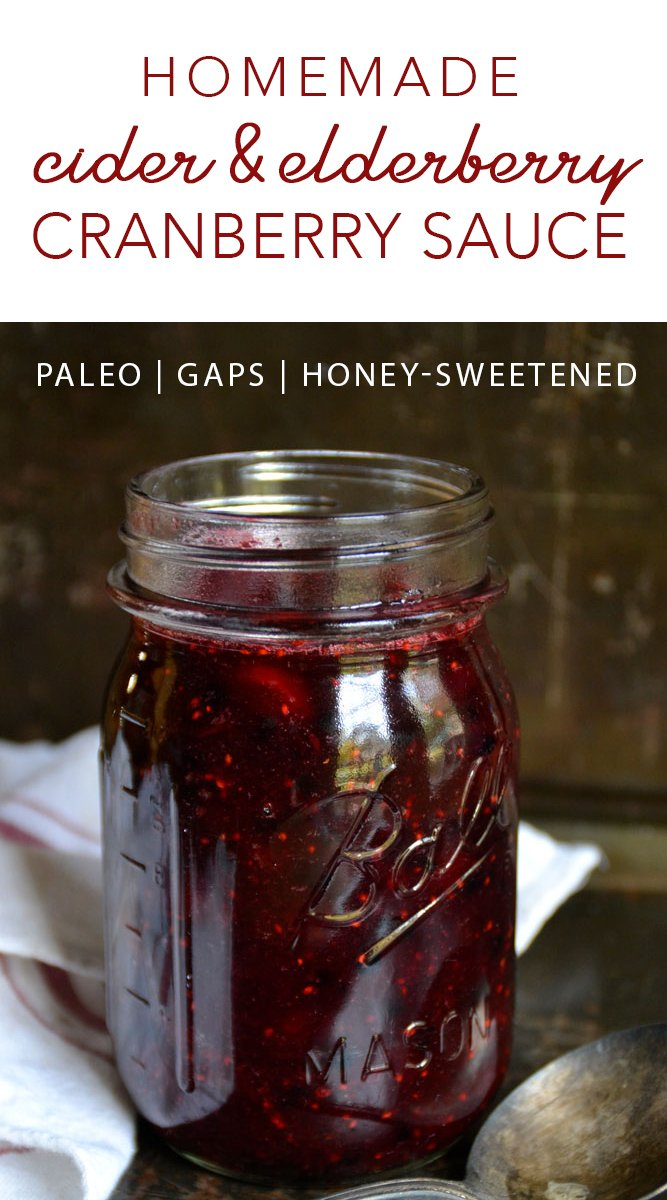 This real food, refined sugar-freeHomemade Cider & Elderberry Cranberry Sauce has quickly become a favorite holiday treat at my house! And it's healthy...