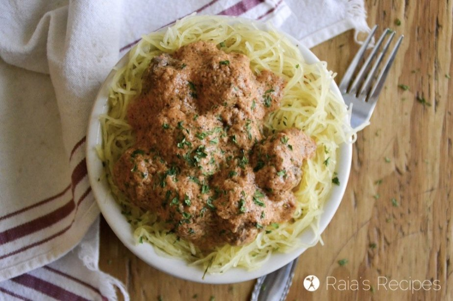 Enjoy spaghetti and meatballs again with this easy and delicious grain-free version!   RaiasRecipes.com