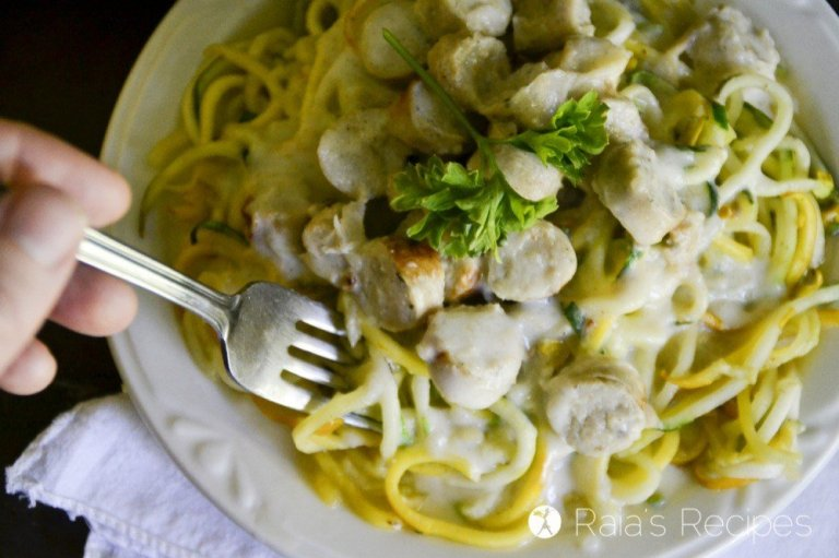 Summer Squash Zoodles with Chicken Sausage Alfredo