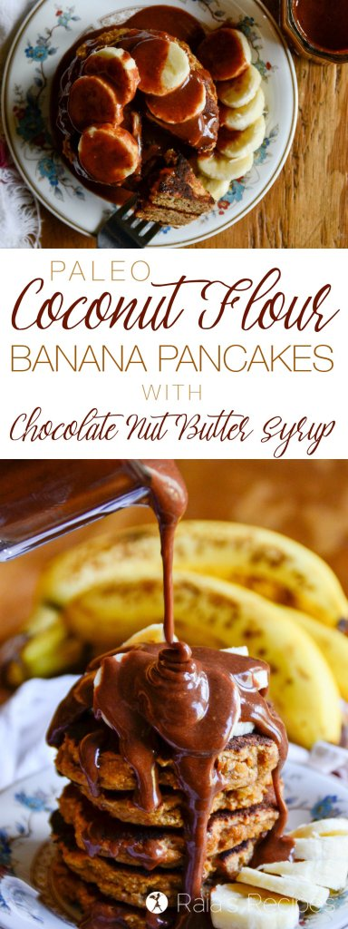 Perfectly fluffy and deliciously simple, these paleo Coconut Flour Banana Pancakes with Chocolate Nut Butter Syrup are sure to hit the spot any morning! | RaiasRecipes.com