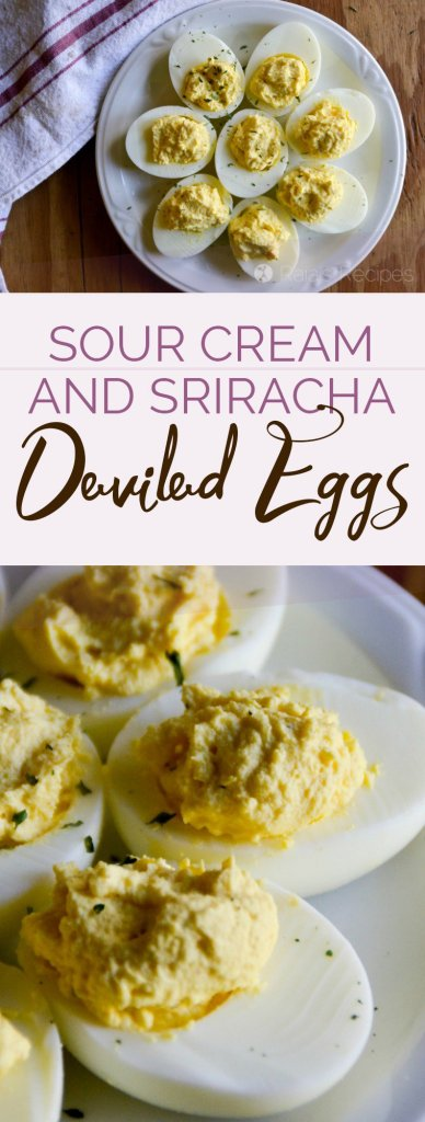 Kick that regular deviled eggs recipe up a notch with these Sour Cream & Sriracha Deviled Eggs made quick and easy in the Instant Pot! | RaiasRecipes.com