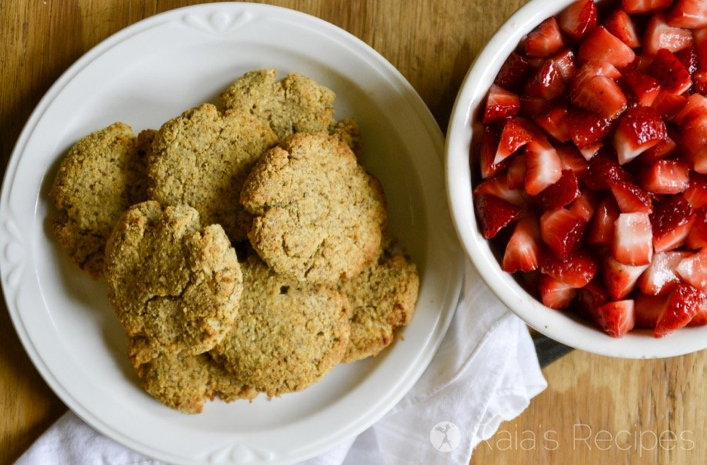 This honey sweetened, grain free Strawberry Shortcake is a healthy twist on a classic treat everyone is sure to enjoy! RaiasRecipes.com