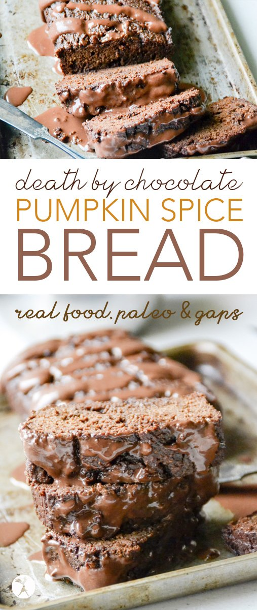 Paleo and GAPS-friendly, this Death by Chocolate Pumpkin Spice Bread with Coconut Cream Ganache is the perfect blend of fall flavors and dark chocolate love.