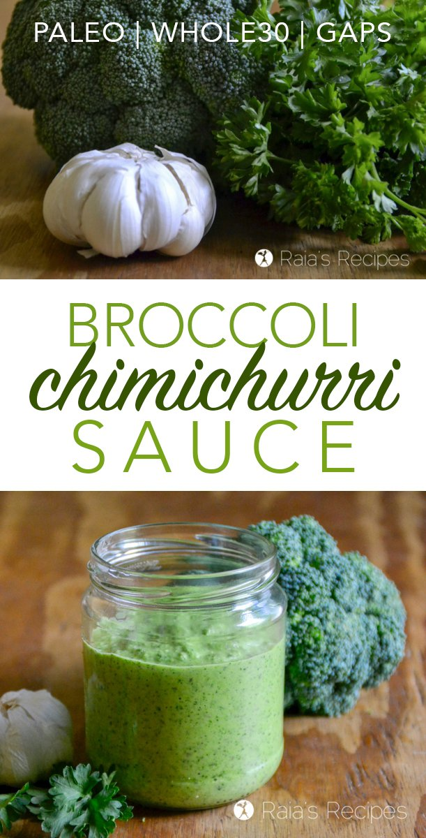 Love chimichurri? This easy and delicious paleo Broccoli Chimichurri Sauce is a tasty twist on the favorite sauce. It goes great on tacos, steak, or even as a veggie dip or salad dressing!