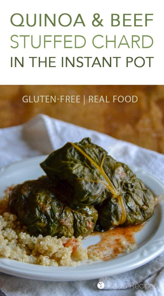 It might sound like a complicated mouthful, but this gluten-free and real food Quinoa & Beef Stuffed Chard in the Instant Pot is surprisingly easy and amazingly delicious!