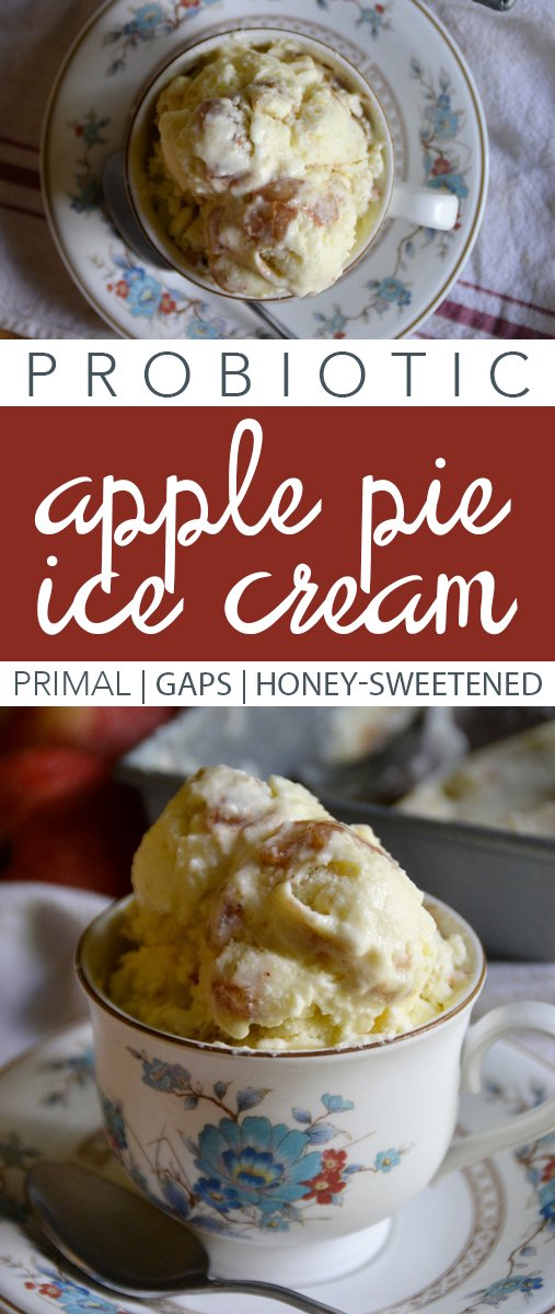 No need to feel guilty enjoying this treat! Full of nutrients, and easy to whip up, this Probiotic Apple Pie Ice Cream is perfect for any time of year! #icecream #applepie #probiotics #guthealth #gapsdiet #primal #honey #apples #summer